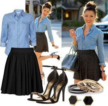 Сочетание джинсовой рубашки и юбки