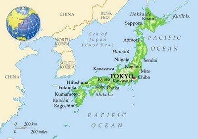 Токио на карте Японии