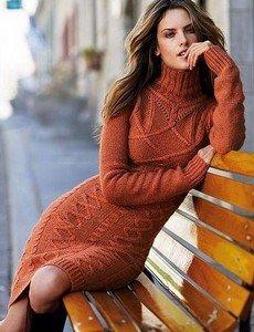 Вязаное платье на осень - эталон тепла и стиля