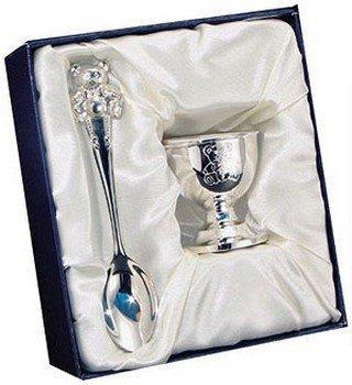 Серебряный набор на крестины: ложечка и чашечка