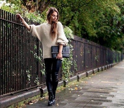 Объемный свитер простой вязки - тренд осень-зима 2014-2014