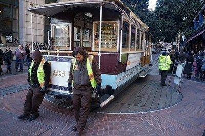 Кабельный трамвай в Сан-Франциско разворачивают вручную а конечной станции