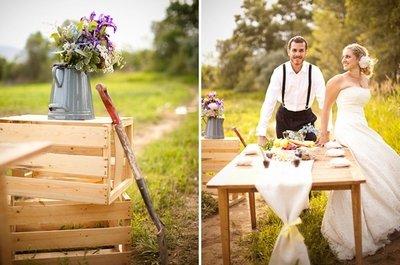Празднование свадьбы в деревенском стиле