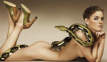 Массаж тела змеями