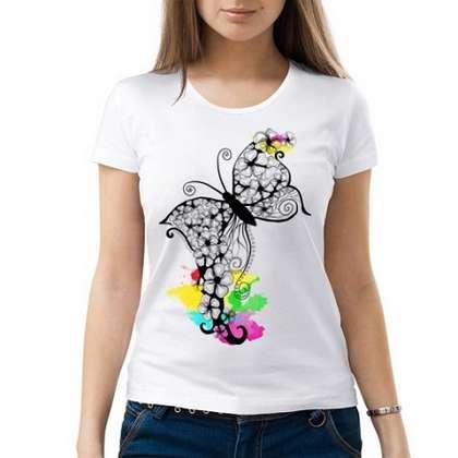 женская футболка с бабочкой